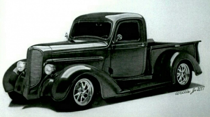 "#011 ""1937 Dodge Pickup"" Original work SOLD  $450"