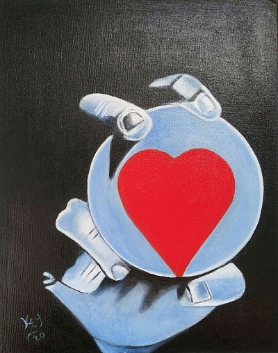 #12 Heart in your hand 11x14 inch acrylic on canvas panel Original SOLD $65.00