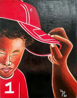 #15. Boy in Red Cap 11x14 inch acrylic on canvas panel Original SOLD $80.00